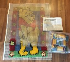 WINNIE THE POOH Latch Hook Rug Wall Hanging Kit Partially Completed w/ Yarn EUC