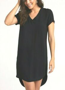 NEW CLOTH & STONE SzS V-NECK SHORT SLEEVE HI-LOW HEM DRESS IN CHARCOAL