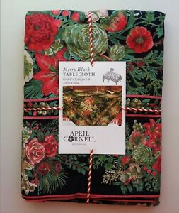April Cornell MERRY Black Red Green Floral Holiday 60 x 84 Tablecloth Cotton