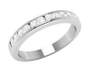 I1 G Engagement Ring Channel Set 0.42 Carat Natural Diamond 14K Solid White Gold
