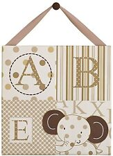 Cocalo Sweet Latte Canvas Elephant ABC 123 Neutral Nursery Wall Decor Brown Tan