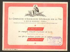 PARIS II° Arrt / Buvard / Cie d'ASSURANCE GENERALES VIE