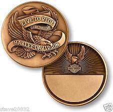 NEW Harley Davidson Live To Ride, Eagle Bronze Antique Challenge Coin. 60996.