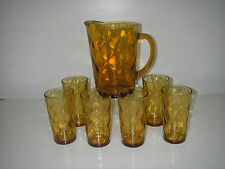 Hazel Atlas Glass ATC36 Diamond Optic Gold 7 pc Beverage Set Pitcher 6 Tumbler