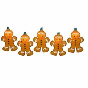 "Kurt Adler Gingerbread Man cookie Christmas 10 Light Set String 3.5"" Plastic 30"""