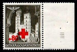 GG 1940: Rotes Kreuz MiNr. 55 * Seitenrand mit Sektorennumer IV - SELTEN !!!