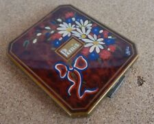 Art Deco French Powder Compact Hand Painted WW1 era Floweres Ribbons Paris
