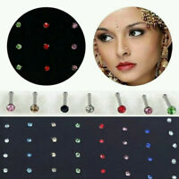 Lots Stainless Steel Crystal Nose Ring Bone Studs Body Piercing Jewelry Gifts