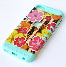For iPod Touch 5th / 6th Gen - HARD&SOFT RUBBER HYBRID CASE PINK YELLOW FLOWERS