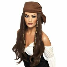 Adult Ladies Pirate Caribbean Princess Wig Bandana Beads Fancy Dress Accessory