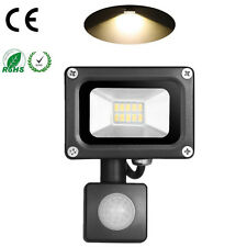 10W Warm White LED Flood Light + PIR Motion Sensor Outdoor Garden Security Lamp