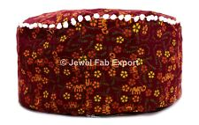 Handmade Footstool Sitting Pouf Red Cover 100% Cotton Mandala Ottoman Cover