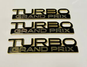 89 90 Pontiac Turbo Grand Prix GM Emblem Set (3) Emblems Black Gold NEW!