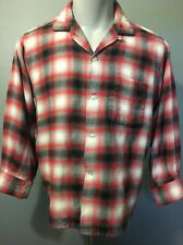 Vtg Arrow Shadow Plaid Rayon Wool Shirt 50s Mens Large 1950s 60s Chevella Style