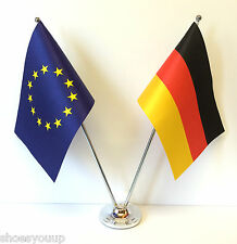European Union EU & Germany Flags Chrome and Satin Table Desk Flag Set