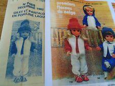 """T2 PATRON POUPEE """"MARIE FRANCOISE"""" MODES ET TRAVAUX"""" GILET PANTALON HIVER 1982"""