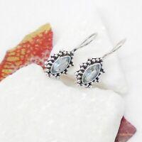 Blautopas blau Nostalgie Design Ohrringe Ohrhänger Haken 925 Sterling Silber neu