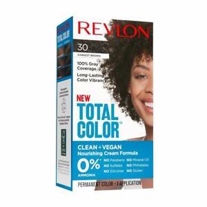 New Revlon Total Color Hair Clean + Vegan 100% Gray Coverage 30 Darkest Brown