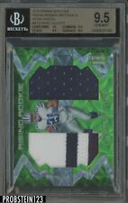 2016 Spectra Neon Green Ezekiel Elliott Cowboys RC Rookie Dual Patch /25 BGS 9.5