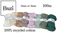 100 metres Macrame Cord Natural Recycled 100% Cotton Chunky Yarn 3mm, 5mm