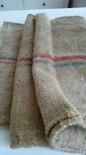 Antique vintage GRAIN SACK feedsack RED-BLUE striped  hemp linen GRAINSACK