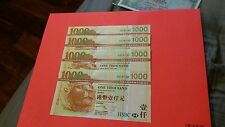 4 consective notes Hong Kong 2005, $1000 gem UNC.