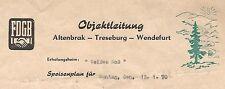 ÜÜ290 SPEISEPLAN FDGB ALTENBRAK TRESEBURG WENDEFURT WEIßES ROß  JAHR 1970