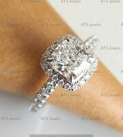 14k White Gold Finish 3Ct Cushion Cut Diamond Halo Ring Engagement Wedding Ring