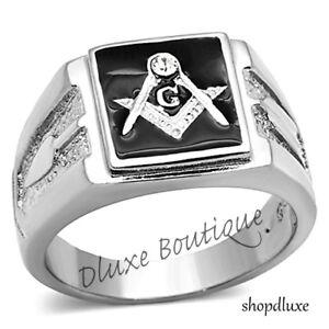 Men's Stainless Steel 316 Crystal Masonic Lodge Freemason Ring Band Size 8-14