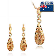 Antique 18k Gold Filled Filigree Drop Earrings and Necklace Set