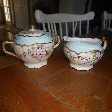 Vintage Sugar Bowl Creamer-PINK CHERRY APPLE BLOSSOMS Gold-O & EG Royal Austria