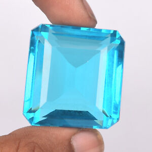 Faceted Square Cut Swiss Blue Topaz 62.10 Ct. Loose Gemstone Pendant Size PD-38