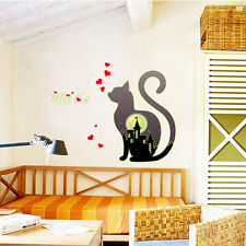 Fluorescent Wall Sticker Cat Glow In The Dark Wall Decal Quote Light Room decor