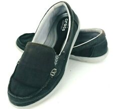 Crocs Walu II Gray Canvas 8 Womans Shoe Comfort Slip On Loafer Moccasin 202489