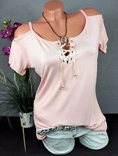 Damen Schulter Cut-Outs Shirt - Bluse Off-Shoulder in rosa von Melrose Gr. 40