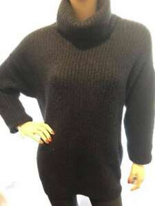 7/11 PREOWNED BLACK LONG SLEEVED POLO NECK VERY RIBBED JUMPER TOP 8