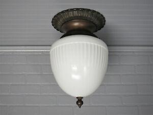 """Large Vintage Antique Art Deco Semi Flush Mount Bronze Ceiling Light 18 1/4"""" L"""