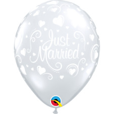 5 X Just Married Cœurs Diamant Transparent 27.9cm Latex Ballons (QUALATEX Hélium