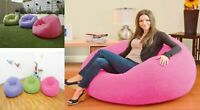 INTEX INFLATABLE POUFFE FLOCKED ARMCHAIR FOR INDOOR & OUTDOOR USE ASSORTED COLOR
