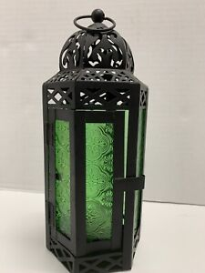 """Moroccan Candle Lantern Holder Hanging/Tabletop Green Glass Black Metal 10"""" Tall"""