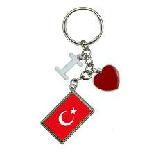 Flag of Turkey I Heart Love Keychain Key Ring