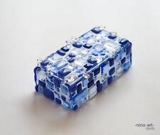 "Glass Casket Jewelry Box ""blu tender"" fusing glass handmade from Nino-art"