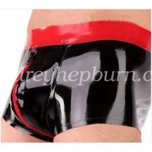 100% Latex Rubber Men Sexy Hip Tight Shorts Crotch Zipper Size S-XXL