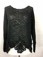 Lianne Barnes Ladies Black Dressy/evening Cropped Crocheted Knit Sweater/Top