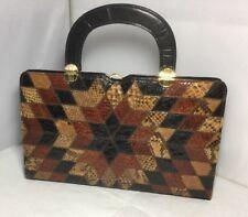 Vintage 1960s Ackery Handbag Made in England Black Leather & Real Snake Skin