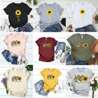 Women Sunflower Print T-shirt Tees Summer Casual Short Sleeve Cotton Blend Tops