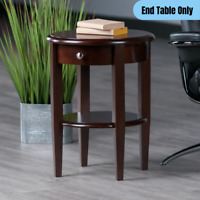 Modern 1-Drawer End Table w/ Shelf Wood Round Accent Display Storage Dark Brown