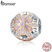 BAMOER Hollow S925 sterling silver charms Bead blooming bud with CZ Fit bracelet