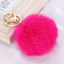 Rabbit Fur Ball PomPom Cell Phone Car Keychain Handbag Charm Key Ring 8 CM
