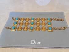 NWT CHRISTIAN DIOR WIDE CUFF RIVIERA 18K GOLD PLATED CHAIN BRACELET TURQUOISE